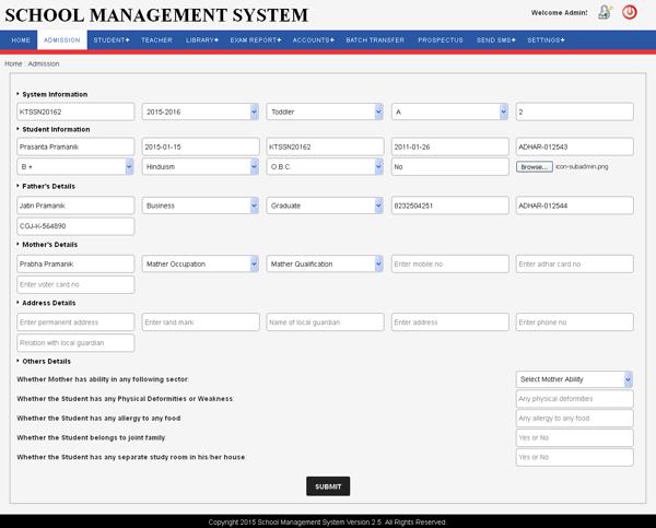 School Management Software, Dashboard, Admin Panel, Teacher's Panel